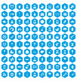 100 child center icons set blue vector image vector image