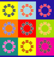bagua sign pop-art style colorful icons vector image