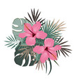 bouquet composition with pink hibiscus flower and vector image vector image