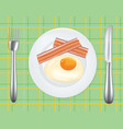 breakfast plate with egg and bacon vector image vector image