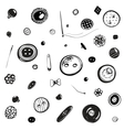 Buttons and Needles Set Ink Drawing vector image