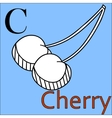 C letter alphabet Coloring book cherry vector image vector image