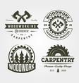 carpentry woodworker set logo vintage symbol vector image vector image