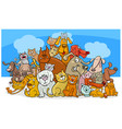 cartoon dog and cats characters vector image vector image