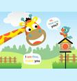 cartoon of funny giraffe and bird in the garden vector image
