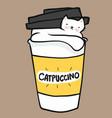 catpuccino cat in coffee cup cartoon vector image vector image