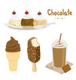 chocolate ice cream dessert cartoon vector image
