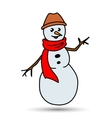 Christmas White Snowman in a Hat and Scarf vector image
