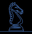 continuous one line neon chess knight icon concept vector image vector image