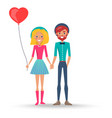 couple in love in hats boy and girl with balloon vector image vector image