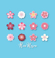 creative collection of plum blossom paper cut vector image