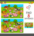 differences game with farm animal characters vector image vector image