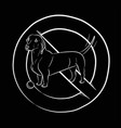 dog stop dog dachshund white outline vector image