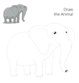 Draw animal elephant educational game vector image vector image