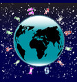 earth with the signs of the zodiac vector image vector image