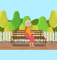 elderly lady sitting on bench flat vector image
