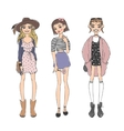 Fashion girls pure beauty colored cartoon sketch vector image vector image