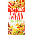 fast food menu with burgers desserts and snacks vector image vector image