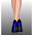 female legs in high heels blue heels vector image
