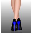 female legs in high heels blue heels vector image