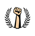 fist and laurel wreath vector image