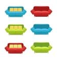 flat sofa icons set vector image vector image