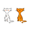 Freehand cartoon character funny ginger cat sketch vector image