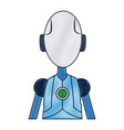 friendly android robot character cyborg future vector image
