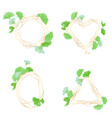 gold geometrical wedding frames with green leaves vector image