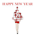 greeting card with inscription happy new year with vector image vector image