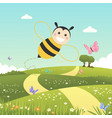 happy bee flying on a spring day vector image