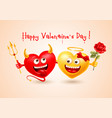 happy valentines day with devil and angel hearts vector image vector image