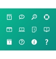Help and FAQ icons on green background vector image vector image