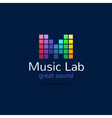 Music studio M letter creative equalizer bright vector image vector image