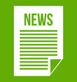 news newspaper icon green vector image vector image