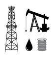 oil derrick with pump and barrel - set vector image