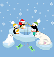 Pengiuns seal and bear fishing vector image vector image