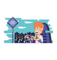person driving for driver safely campaign vector image vector image