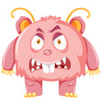 pink scary monster on white backgroud vector image
