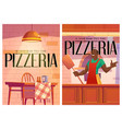 pizzeria posters with cozy cafe interior and chef vector image