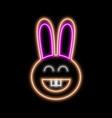 rabbit neon sign bright glowing symbol on a black vector image
