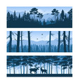 realistic forest landscapes horizontal banners vector image