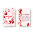 romantic greeting card with red hearts vector image vector image