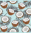 seamless pattern coconut piece and palm leaves on vector image vector image
