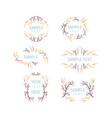 set floral frames wedding ornament concept vector image vector image