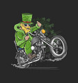 st patricks day motorcycle biker rider artwork v vector image vector image