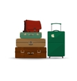 Suitcases and Bag Isolated on White vector image