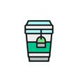 tea in disposable cardboard cup takeaway flat vector image