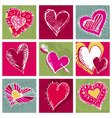 valentines card with hand draw nine heart vector image vector image