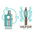 vapor bar and shop logo design isolated vape e vector image vector image